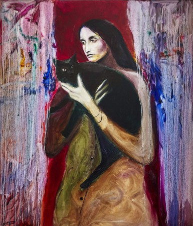 Joan Baez with black cat, 140x120cm, oil on canvas, 2019
