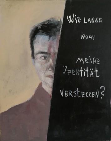 Selbstbildnis als Herschel Grynszpan Wie lange noch meine Identitaet verstecken?, 100x80cm
