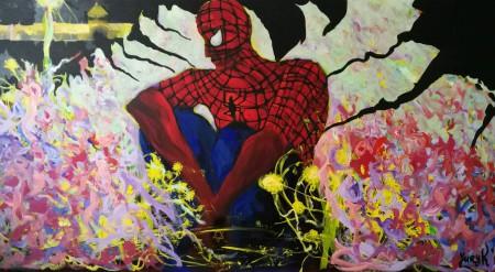 Spiderman mit Davidstern vor Auschwitz als Referenz zum Dämon von Wrubel, 115x210cm, Akryl auf Leinwand, 2020